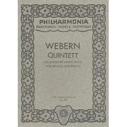 Webern, Anton von: Quintett : für Streichquartett und Klavier Studienpartitur