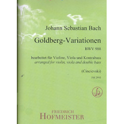 Bach, Johann Sebastian: Goldberg-Variationen BWV988 : für Violine, Viola und Kontrabass Partitur und Stimmen