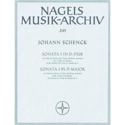 Schenck, Johannes: Sonate D-Dur op.9,1 : für Viola da gamba und Bc Partitur und 2 Stimmen