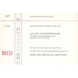Händel, Georg Friedrich: 5 Stücke aus der Feuerwerksmusik : für 3 Blockflöten (SSB) Spielpartitur