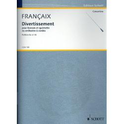 Francaix, Jean: Divertissement für Fagott und Streichquintett (-Orchester) Partitur