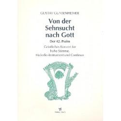 Gunsenheimer, Gustav: Von der Sehnsucht nach Gott für Gesang (hoch), melodieinstrument und Bc Partitur und Stimmen