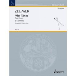 Zeumer, Gerhard: 4 TAENZE FUER 3 SCHLAGZEUGER SPIELPARTITUR GSCHWENDTNER, HERMANN, ED