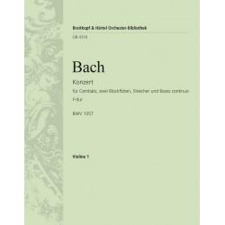 Bach, Johann Sebastian: Konzert F-Dur BWV1057 : für Cembalo, 2 Blockflöten, Streicher und Bc Violine 1
