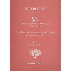 Holborne, William: 6 Airs or canzonets for 3 voices neapolitan like : für 3 Blockflköten (SSA) Partitur
