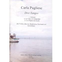 Pugliese, Carla: 3 Tangos : für Bandoneon, Violine, Kontrabass, Keyboard und Klavier Partitur und Stimmen