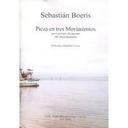 Boeris, Sebastián: Pieza en tres movimientos : für 2 Violinen, Viola, Violoncello und Kontrabass Partitur und Stimmen