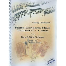 Beethoven, Ludwig van: 1. Satz aus Konzert Es-Dur Nr.5 op.73 für Klavier und Orchester für Klavier und Blasorchester Partitur