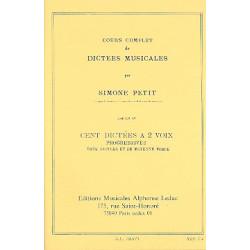 Petit, Simone: 100 Dictées musicales progressives vol.4 : à 2 voix