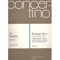 Stamitz, Karl: Konzert F-Dur Nr.1 : f├╝r Klarinette und Orchester, partitur