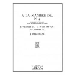 Delécluse, Jacques: À la manière de ... no.4 : pour 4 timbales (1 instrumentaliste) et piano copie d'archive