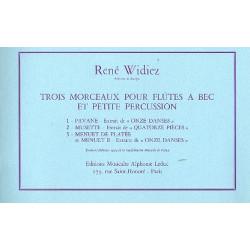 Widiez, René: 3 Morceaux : pour 3 flûtes à bec et petite percussion partition