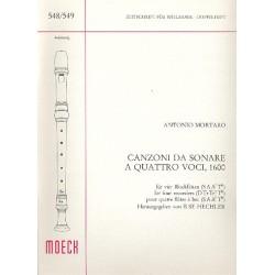 Mortaro, Antonio: Canzoni da sonare a 4 voci : für 4 Blöockflöten (SA A/T T/B) Spielpartitur