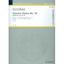 Dvorak, Antonin: Slavonic Dance no.10 op.72,2 : for 3 recorders (sat) and piano