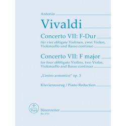 Vivaldi, Antonio: Concerto F-Dur op.3,9 für 4 Violinen und Streicher Klavierauszug