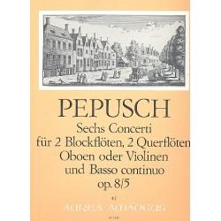 Pepusch, Johann Christoph: Concerto C-Dur op.8,5 : für 2 Blockflöten (Ob, Vl), 2 Oboen (Fl, Vl) und Bc