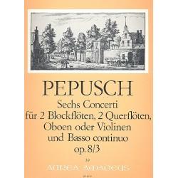 Pepusch, Johann Christoph: Concerto op.8,3 : für 2 Blockflöten (Flöte, Oboe, Violine), 2 Oboen (Flöten, Violinen) und Bc,