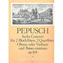 Pepusch, Johann Christoph: Concerto op.8,4 : für 2 Blockflöten (Flöten, Oboen, Violinen), 2 Oboen (Flöten, Violinen) und Bc