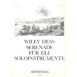 Hess, Willy: Serenade op.19 Flöte, Oboe, Klarinette, 2 Fagotte, 2 Hörner, 2 Violinen, Viola, Violo Partitur und Stimmen