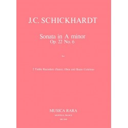 Schickhardt, Johann Christian: Sonate a-Moll op.22,6 : for 2 treble recorders, oboe and bc