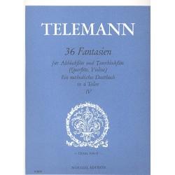 Telemann, Georg Philipp: 36 Fantasien Band 4 (Nr.27-36) : für Altblockflöte und Tenorblockflöte (Flöte, Violine), Spielpartitur