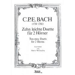 Bach, Carl Philipp Emanuel: 10 leichte Duette : f├╝r 2 H├Ârner Partitur und 2 Stimmen