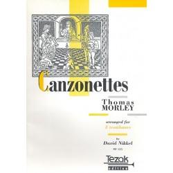 Morley, Thomas: Kanzonetten Band 1 : f├╝r 3 Posaunen Partitur und 3 Stimmen