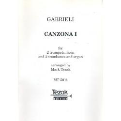 Gabrieli, Giovanni: Canzona 1 : f├╝r 2 Trompeten, Horn, 2 Posaunen und Orgel Partitur und 6 Stimmen