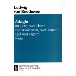 Beethoven, Ludwig van: Adagio F-Dur für die Spieluhr für Flöte, 2 Oboen, 2 Klarinetten, 2 Hörner und 2 Fagotte, Partitur und