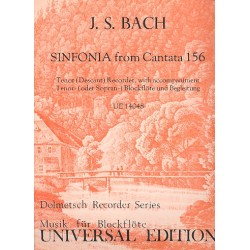 Bach, Johann Sebastian: Sinfonia from Cantata 156 : for tenor (descant) recorder with accompaniment