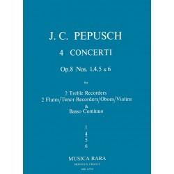 Pepusch, Johann Christoph: Concerto F-Dur op.8,4 : für 2 Altblockflöten (Flöten, Tenorblockflöte, Oboen, Violinen) und Bc,