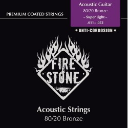 Fire & Stone 80/20 Bronze Saiten für Akustik/Westerngitarre - Stärke:super light (.011-.052)