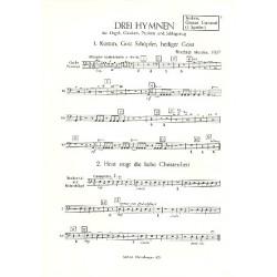 Metzler, Friedrich: 3 Hymnen : für Orgel, Glocken, Pauken und Schlagzeug Becken / Große Trommel (1 Spieler)