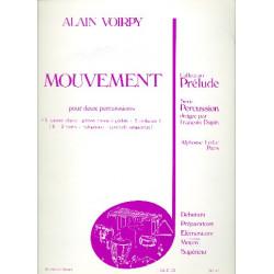 Voirpy, Alain: Mouvement : pour deux percussions (I. caisse claire, ..., II. 2 toms, xylophone) partition
