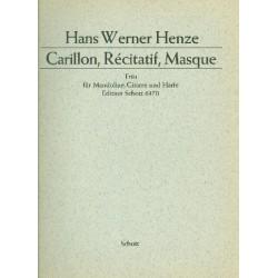 Henze, Hans Werner: Carillon, recitatif, masque : für Mandoline, Gitarre und Harfe Partitur und Stimmen