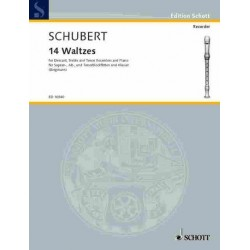 Schubert, Franz: 14 Waltzes : for 3 recorders (SAT) and piano score and recorderscore