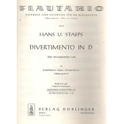 Staeps, Hans Ulrich: Divertimento über ein ungarisches Lied in D : für 4 Blockflöten (SSAA) und Klavier, Sopranblockflöte 1/2