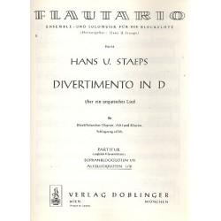 Staeps, Hans Ulrich: Divertimento über ein ungarisches Lied in D : für 4 Blockflöten (SSAA) und Klavier, Altblockflöte 1/2
