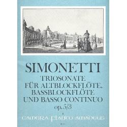 Simonetti, Giovanni Paolo: Sonata a tre g-Moll : für 2 Blockflöten (AB) und Bc