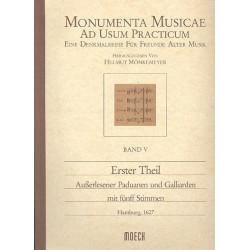 Erster Theil ausserlesener Paduanen und Galliarden mit fünff Stimmen Partitur