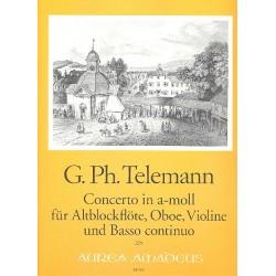 Telemann, Georg Philipp: Concerto a-Moll : f├╝r Altblockfl├Âte, Oboe, Violine und Bc, Stimmen