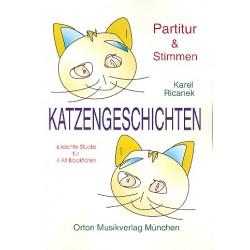 Ricanek, Karel: Katzengeschichten : 6 leichte Stücke für 4 Altblockflöten Partitur und 4 Stimmen