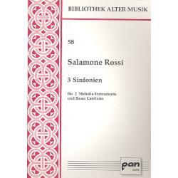 Rossi Hebreo, Salomon: 3 Sinfonien : für 2 Melodieinstrumente und Bc 3 Partituren