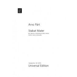Pärt, Arvo: Stabat Mater : per soprano, contratenore (alto), tenore, violino, viola e violoncello partitura per canto