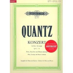 Quantz, Johann Joachim: Konzert G-Dur QV5,174 (+CD) für Flöte Streicher und Bc für Flöte und Klavier