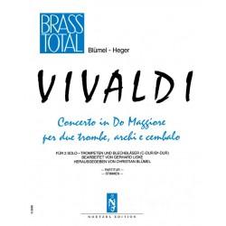 Vivaldi, Antonio: Concerto do maggiore RV537 fuer 2 Trompeten und Blechbläser Partitur und 14 Stimmen