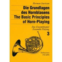 Jeurissen, Hermann: Die Grundlagen des Hornblasens Band 3 : Das Ensemblespiel für 2-5 Hörner in C, G, F, E, Es, Partitur