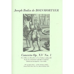 Boismortier, Joseph Bodin de: Concerto op.15,1 : for 5 oboes (4-5 instruments and Bc) score and parts