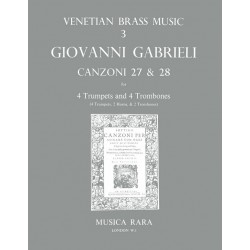 Gabrieli, Giovanni: Canzonas no.27-28 : for 4 trumpets and 4 trombones score and 10 parts