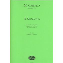 Carolo: 10 Sonaten Band 2 (Nr.6-10) : für 2 Viole da gamba (Fagotte/Violoncelli) und Bc Partitur und Stimmen (Bc nicht